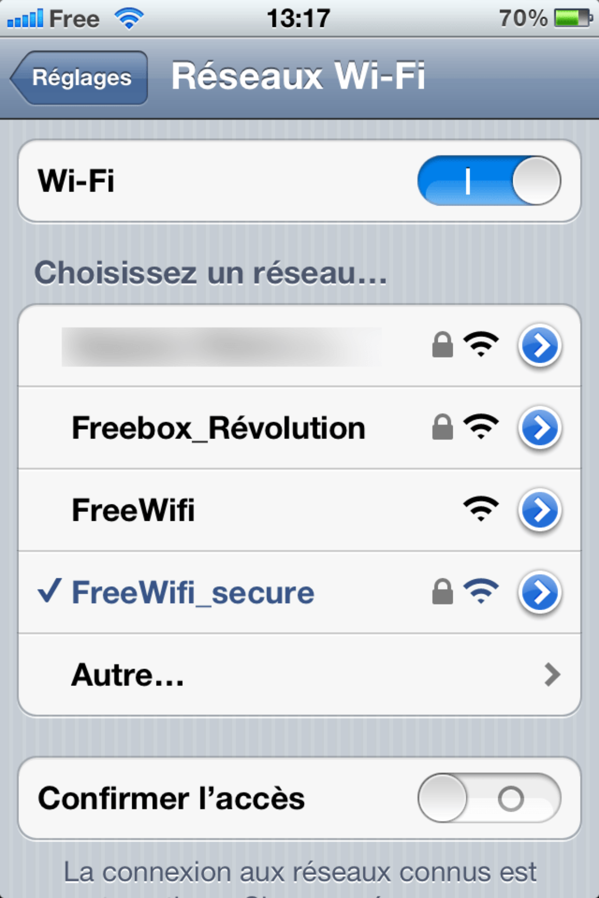 comment se connecter a free wifi secure iphone