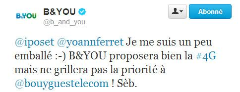 bandyoutweet B and You proposera la 4G ! Free Mobile est prévenu !