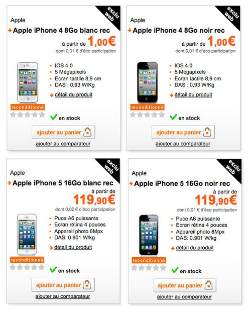 orange iphone reconditionn partir de 1 euro. Black Bedroom Furniture Sets. Home Design Ideas